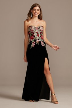 Strapless Sheath Floral Embroidered Velvet 1294BN Gown Blondie Nites