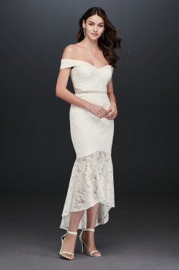 Sexy Off-the-Shoulder High Low Bridal Lace Gown Style 1450X