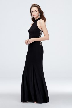 High-Neck Long Sheath Jersey 1554X Dress with Beaded Cutouts