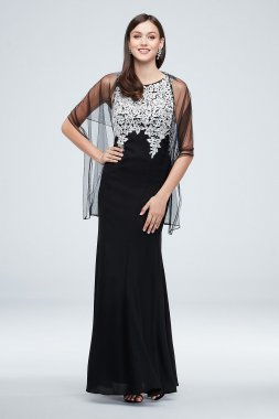 Embroidered Crystal-Accented Vines 160073D Gown with Shawl