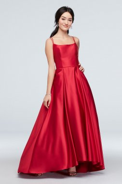 Double Skinny Strap Satin Ball Gown with Pockets 1620BN