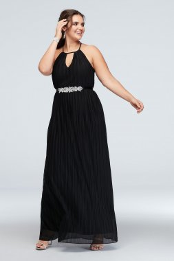 Plus Size 2178BH8W High Neck Accordion Pleat Belted Dress