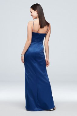 Long Satin Scoopneck Spaghetti Strap Sheath Dress 2224X