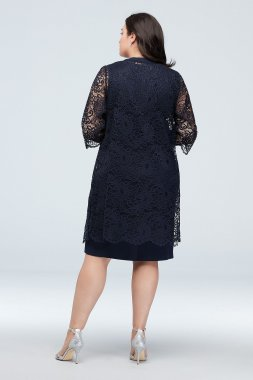 Above Knee Beaded V-neck Dress with Lace Jacket Style 27805