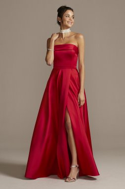 New Style Long Strapless Foldover Satin Prom Gown 3194X