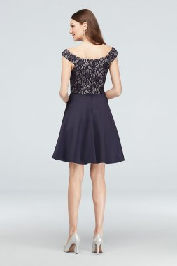 Short V-Neck Bonded Lace and Satin Party Dress 3447TP4H