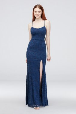 Lace Spaghetti Strap Sheath Gown with Tie Back 3859994