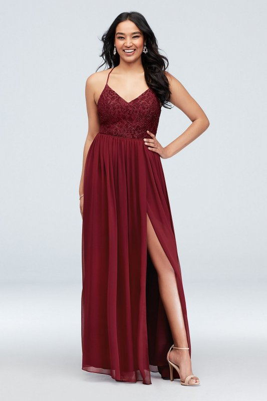 Glitter Lace Bodice Dress Style 3930ZT3D with Sexy Back Cutouts