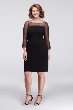 Plus Size Beaded Collar Short Sheath Dress with 3/4 Bella Sleeves 460146