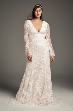 Plus Size Extra Length 4XL8VW351428 Lace Wedding Dress with Bell Sleeves