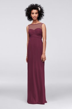 4XLF15927 Extra Length Mesh Dress with Illusion Neckline