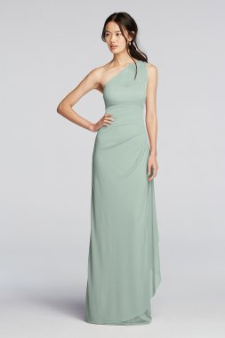 Extra Length Long Mesh One Shoulder Illusion Dress 4XLF19074