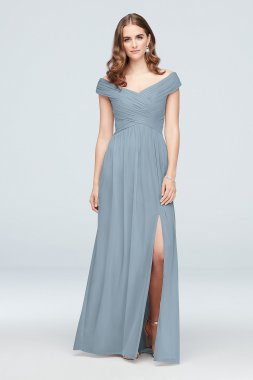 Off-the-Shoulder Crisscross Mesh Long Extra Length Bridesmaid Dress 4XLF19951