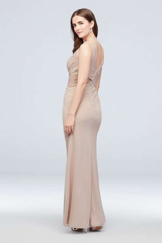 Modern 4XLF19983 Long Tank Mesh Bridesmaid Dress with Lace Inset