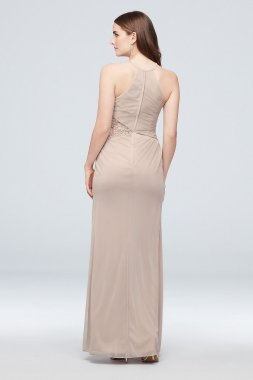Long A-line F20065 Style Flutter Sleeve Bridesmaid Gown.