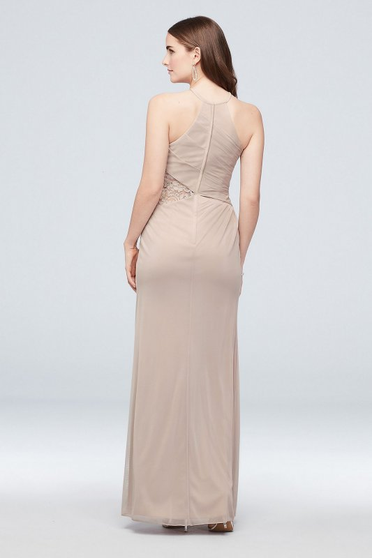 Extra Length 4XLF19985 Mesh High-Neck Bridesmaid Dress with Lace Inset