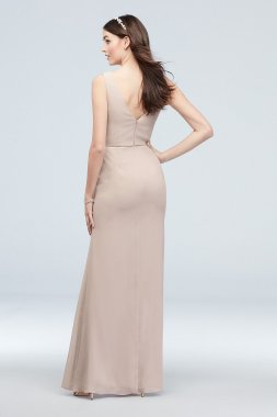 Tall 4XLF20012 Chiffon V-Neck Tank Cascade Bridesmaid Dress