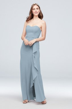 Extra Length 4XLF20013 Strapless Pleated Bridesmaid Dress with Cascade