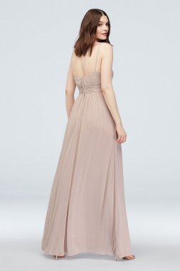 Extra Length 4XLF20054 Ruched Waist One Shoulder Mesh Bridesmaid Dress