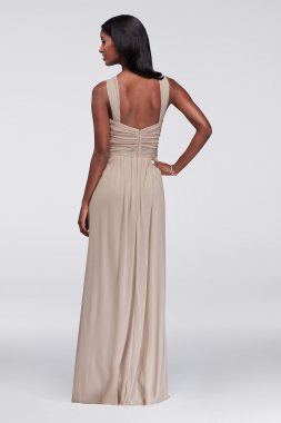 Long Extra Length Halter Y-neck Mesh 4XLW11173 Bridesmaid Dress