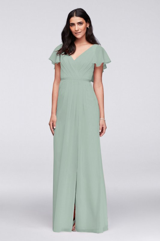 Extra Length Flutter Sleeves Long 4XLW11446 Crinkle Chiffon Bridesmaid Dress