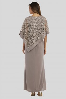 Jersey Sheath Gown with Sequin Lace Capelet 5239 RM Richards