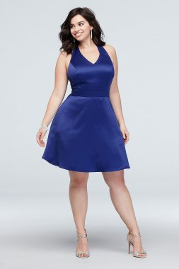 Plus Size Skater Satin Dress with Bow Racerback Style 5752AX5W