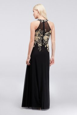 Long Metallic Lace Embroidered 59562D Style Jersey Chiffon Halter Dress