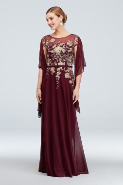Metallic Floral Illusion Cap Sleeve Gown and Shawl 60314D