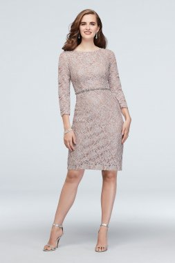 Glitter Lace 3/4-Sleeve Cocktail Dress with Belt 60427D