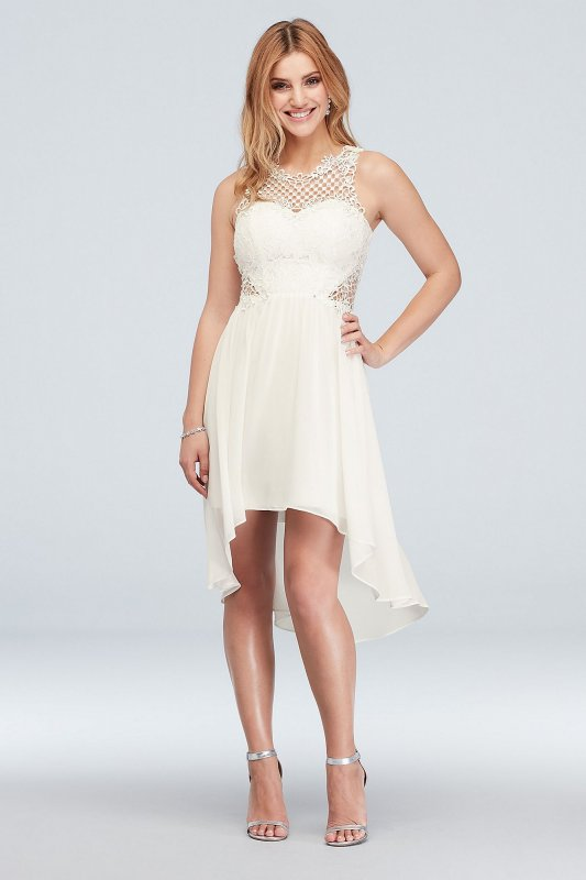 6702RC2C Style Short High Low Illusion Honeycomb Lace Dress