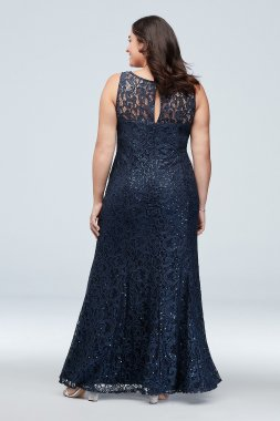 New Plus Size Sequin Lace Party Dress with Flutter Sleeve 7419167