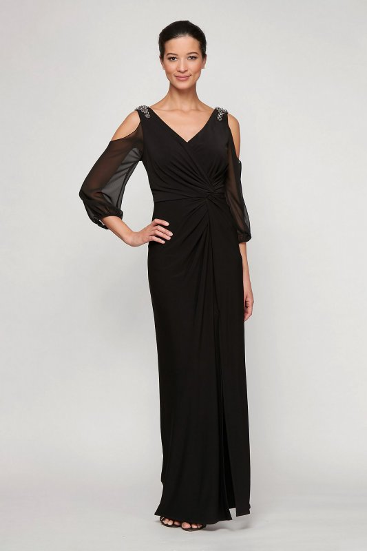 Floor Length 81351488 Style Cold Shoulder Jersey Dress