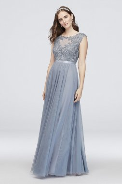 Floral Lace Embroidered Mesh Ball Gown with Ribbon 8145WA7B