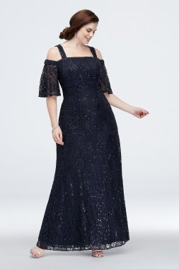 Plus Size Off the Shoulder Allover Sequined Lace Dress Style 84121011