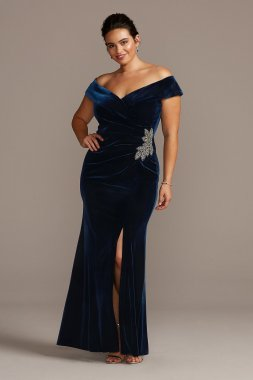 Plus Size Beaded Off-the-Shoulder Velvet 84917701 Style Gown