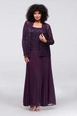 Plus Size A-line 849569 Style Lace and Mesh Occasion Dress with Jackets