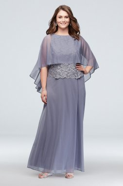 Plus Size Open-Back Capelet Lace and Mesh 850510 Dress