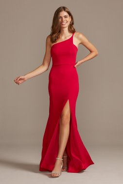 Asymmetric One-Shoulder Strappy Gown with Slit 867607