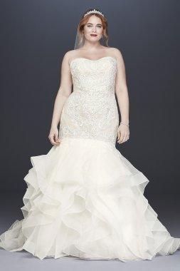 Strapless Sweetheart Neckline Long Trumpet Plus Size Lace Wedding Dress 8CWG769