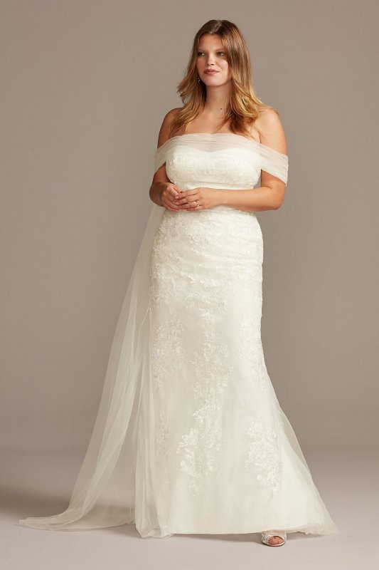 Extra Length Off the Shoulder Plus Size Wedding Dress Style 4XL9WG3978