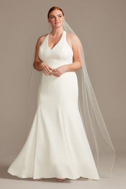 Plus Size Long Fit and Flare V neck Sheer Back Wedding Dress 9WG3989