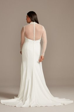 Illusion Sleeve High Neck Plus Size 9WG3991 Wedding Dress with Front Slit
