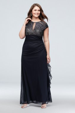 Long Sheath Cap Sleeves Lace Keyhole Plus Size Formal A22197W