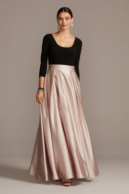 3/4 Sleeve Long Scoop Bodice Gown with Satin Skirt A22424
