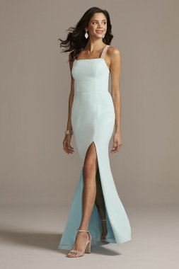 Long Sheath Crystal Crossed Straps Dress with Cowl Back Style A23386