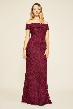 Off the Shoulder Long Fitted Lace Dress Style BGC19262L