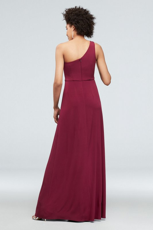 DS270007 One-Shoulder Jersey Dress with Knot Waist