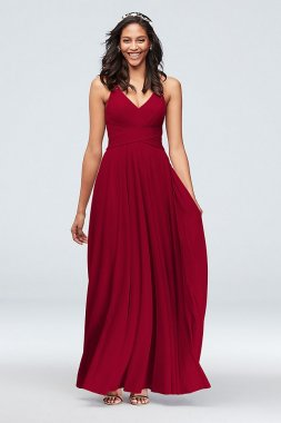 F20052 Style Spaghetti Halter Neck Long A-line Bridesmaids Dress