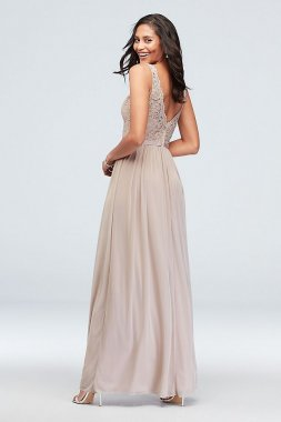 Extra Length Lace Inset 4XLF19578 Style Long A-line Crinkle Chiffon Bridesmaid Gown